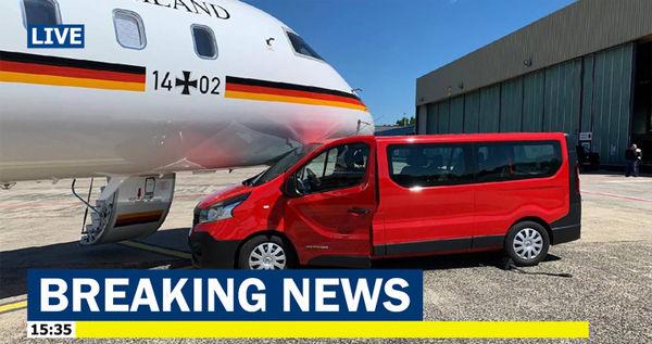 هواپیمای صدراعظم آلمان تصادف کرد +تصاویر