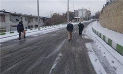 به دلیل بارش شدید برف و لغزنده بودن