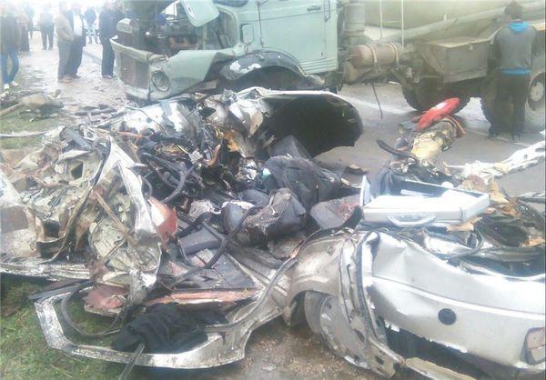 تصادف مرگبار پژو با کامیون در محور کلاله به گنبدکاووس + تصاویر