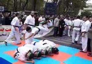 فیلم / نمایش حرکات رزمی در مراسم سیزده آبان