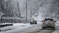 فیلم/ برف سنگین در محور کرج چالوس