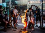 فیلم/ آتش زدن پرچم آمریکا اینبار در بوستون