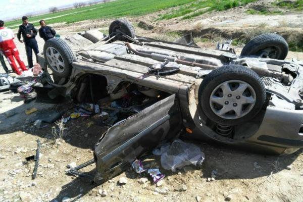 واژگونی خودروی ۴۰۵ در محور کلاله با ۱۰ سرنشین/۹ نفر مجروح شدند