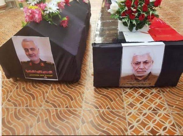 تصویری از پیکر سردار شهیدحاجقاسم سلیمانی و شهید ابومهدی المهندس