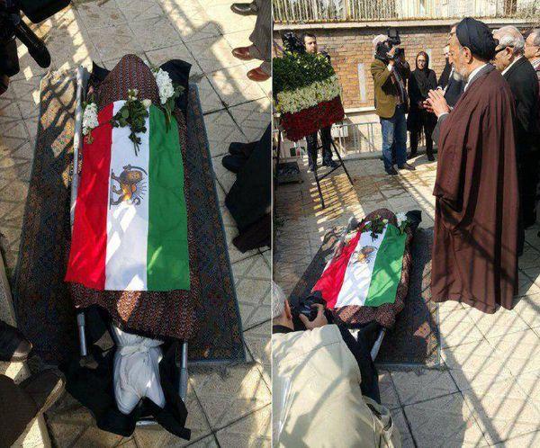نماز بر تابوت با پرچم شیر و خورشید!