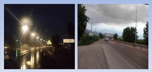 اجرای روشنایی محور روستایی امامیه در بزرگراه علی آباد _ آزادشهر