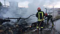 غرفه های میوه فروشی جنب میدان بار گرگان در آتش سوخت