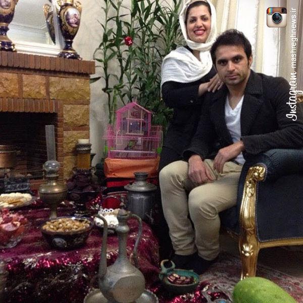 سفره یلدا هادی نوروزی در کنار همسرش+تصویر