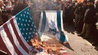 فیلم/ سوزاندن پرچم آمریکا و اسرائیل در عراق