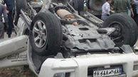 واژگونی خودرو در پی برخورد با عابر پیاده