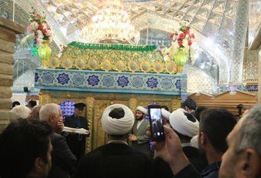 غبارروبی مضجع نورانی حرم حضرت یحیی بن زید (ع) در گنبدکاووس+تصاویر