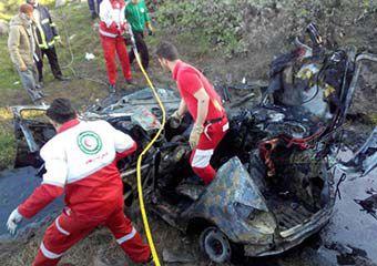واژگونی 206 در گلستان دو کشته و یک مصدوم برجای گذاشت + تصاویر و فیلم
